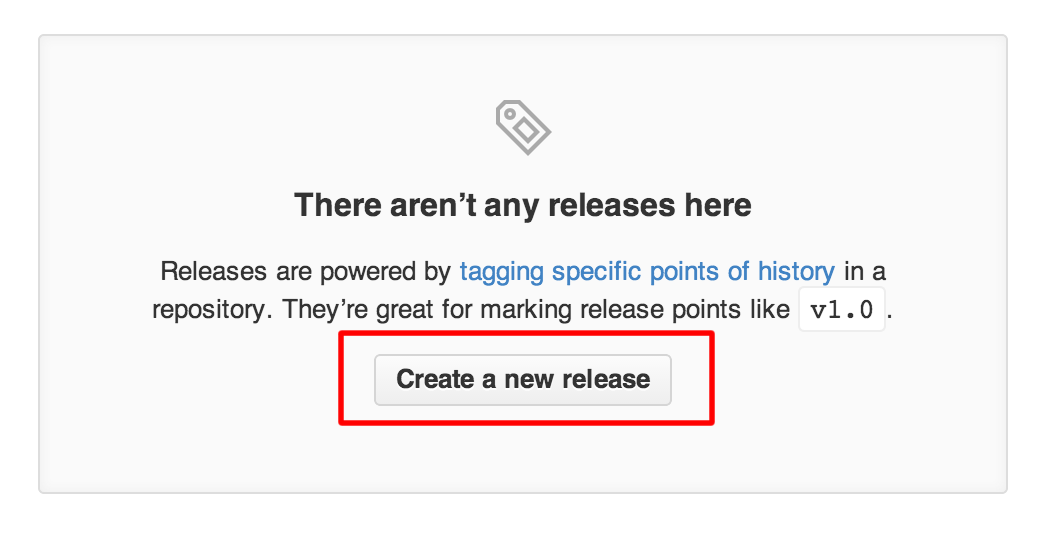 GitHub Releases page message stating that there aren't any releases here yet. The Create a new release button is highlighted