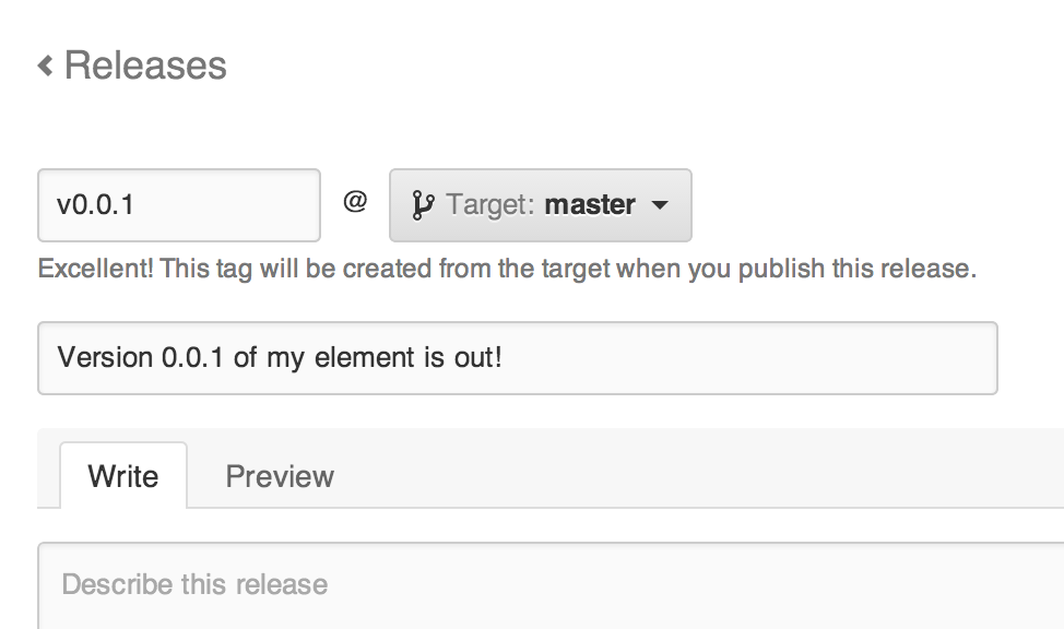 The GitHub releases form displaying an input field for entering in a version number, a drop-down box for selecting the target branch, a release titles field and a description field