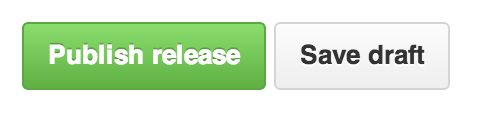 Preview of the Publish release button in the GitHub releases page